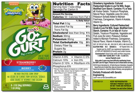 spongebob gogurt nutrition facts nutrition ftempo