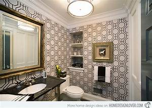 Black and White Wallpaper in 15 Bathrooms and Powder Rooms ...