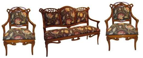 settee wood nouveau set two armchairs and settee modernism