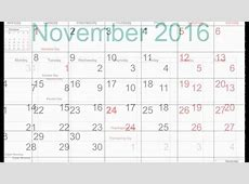 Free November 2016 Printable Calendar with Holidays YouTube