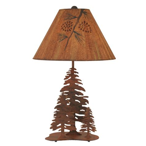 pine cone l shade evergreen trio rusted table l with pine leaf shade