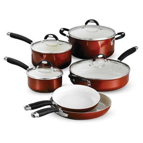 copper pots and pans set bed bath and beyond tramontina style ceramica 10 metallic copper