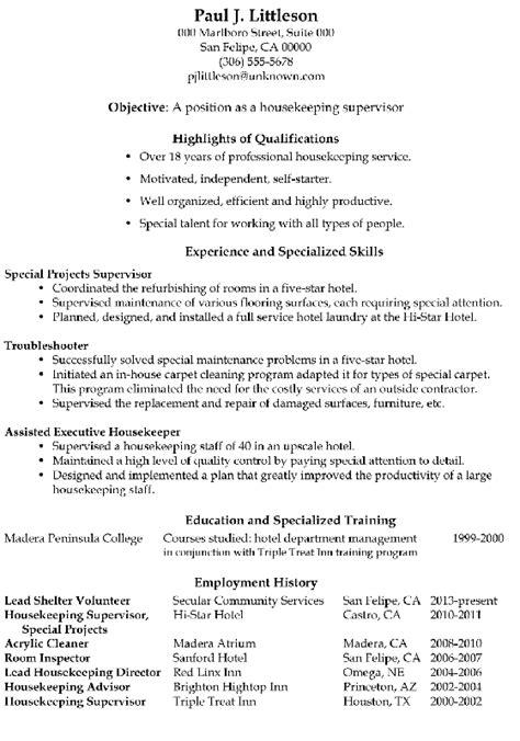 executive housekeeper resume modern resume