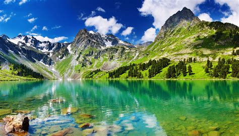 Landscapes lakes mountains stones trees forest green snow