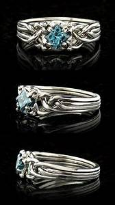 celtic puzzle wedding rings for her guinevere blue With wedding puzzle rings