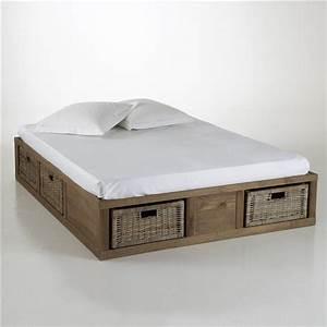 Lit a rangements pin massif malu la redoute interieurs for Nettoyage tapis avec canapé avec tiroir lit