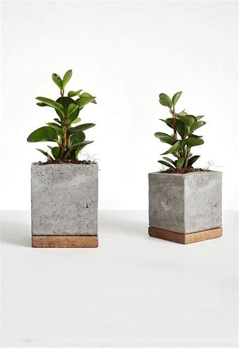 cement planter with wood base square concrete pot