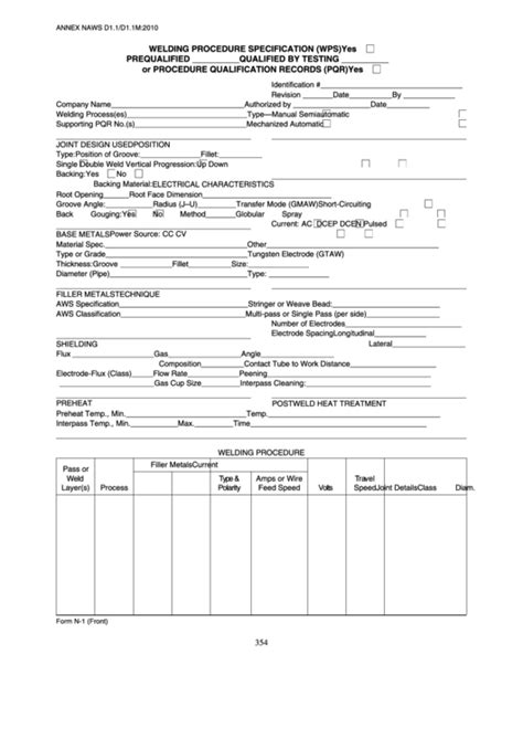 Fillable Form N-1 Welding Procedure Specification (Wps