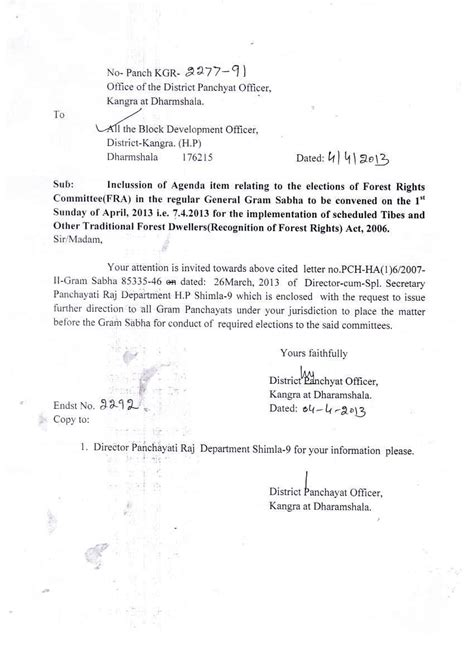 letter  district panchayat officer  include fra