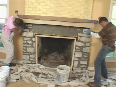 Install A Fireplace Mantel And Add Stone Veneer Facing