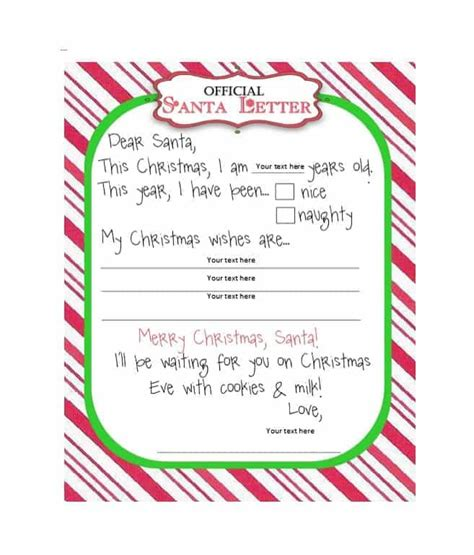 printable christmas  list templates ideas