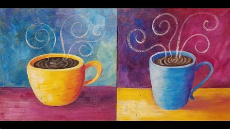Apr 22 2018 beginners can learn how to paint a coffee cup with acrylics on canvas. COFFEE Cup Acrylic Painting Tutorial LIVE Easy Beginner ...