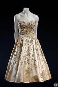 christian evening dress 1951 from ivory silk satin