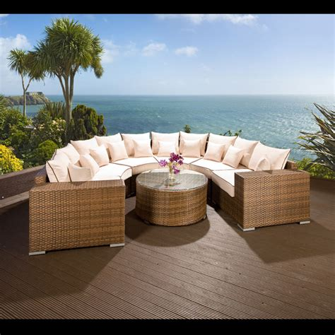luxury outdoor garden u shape 8 seater sofa brown