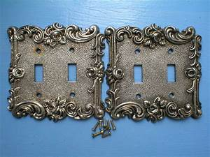 Vintage, Light, Switch, Cover, Plates, Metal, 2, Double, Silver, Tone