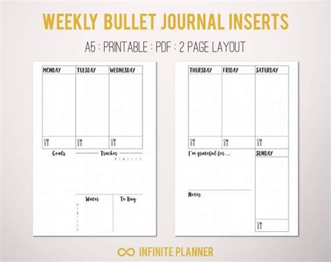 weekly layout   pages bullet journal printable