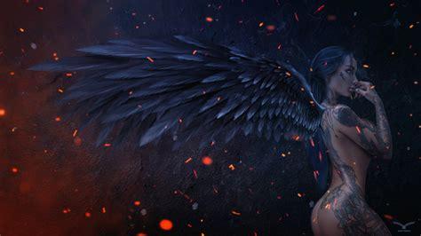 wallpaper dark angel darkness digital art  creative
