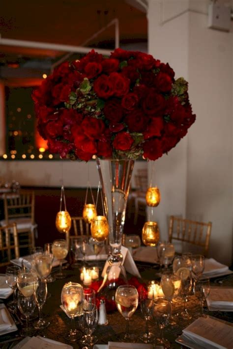 Red Rose Tall Wedding Centerpieces Oosile