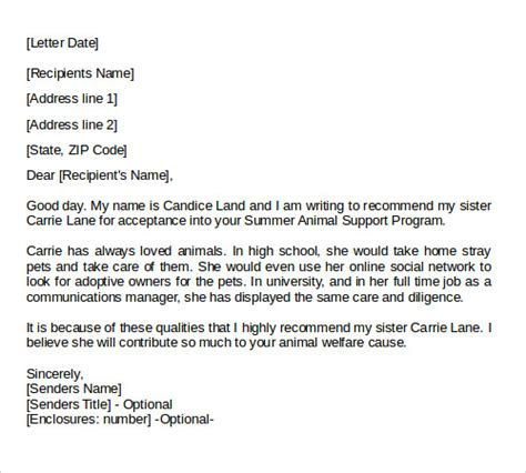 personal letter  recommendation  college application