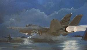 Night Launch F14 Painting by Alan Pearson