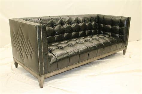 7 Cool, Black Leather Tufted Sofa, Custom Stitching