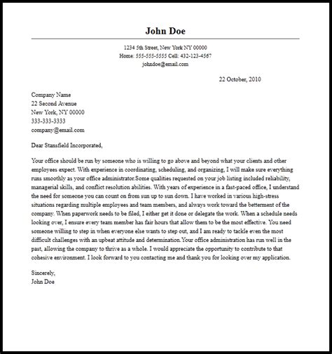 Cover Letter For An Administrator by Professional Office Administrator Cover Letter Sle