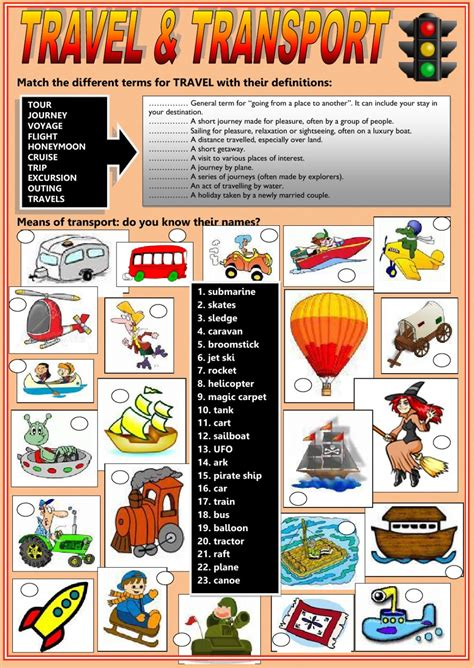 Travel And Transport  Interactive Worksheet