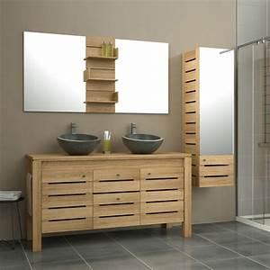 meuble de salle de bains plus de 120 brun marron With meuble teck salle de bain leroy merlin