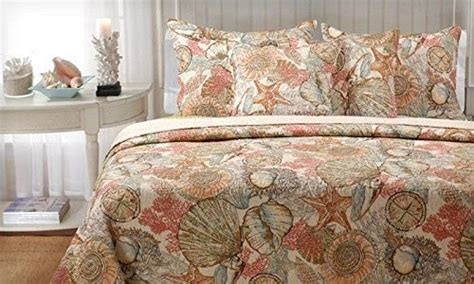 brushed ashore beach house coastal  piece king size quilt