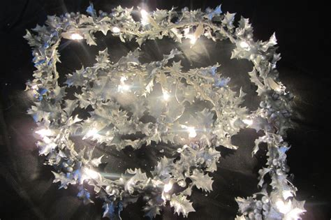 6ft silver holly leaf berry garland with lights christmas