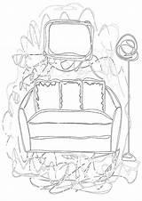 Sofa Coloring sketch template