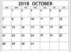 Free Download October 2018 Blank Calendar October 2018