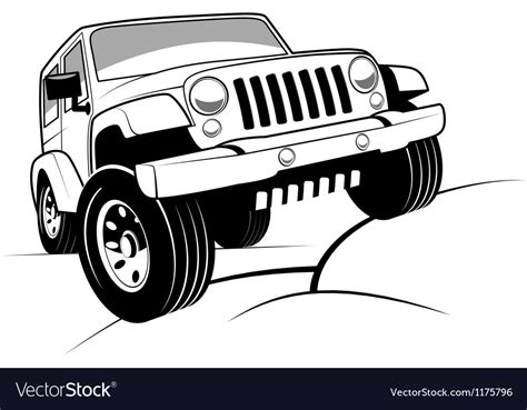 jeep cartoon offroad monochrome detailed cartoon off road jeep vector image