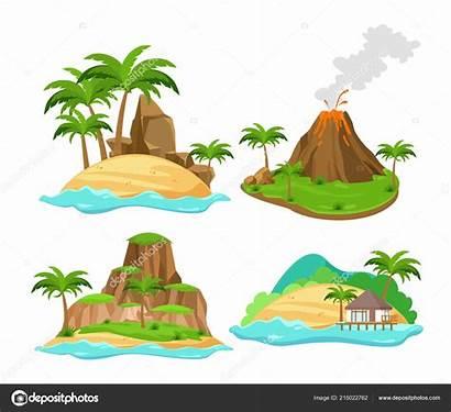 Volcano Cartoon Tropical Palm Trees Islands Mountains