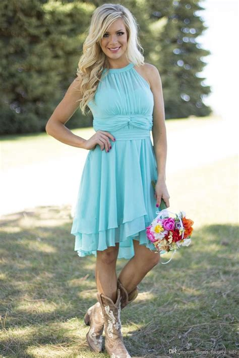 light blue country bridesmaid dresses short cheap
