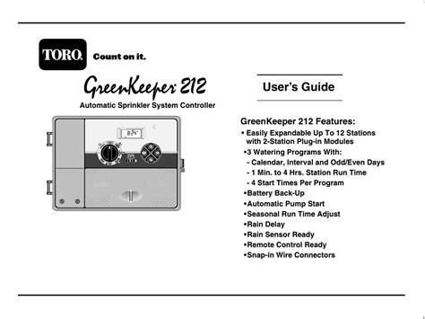toro greenkeeper  user manual  pages
