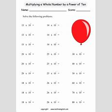 Multiplication Of Whole Numbers By Powers Of Ten Great Exponent Worksheet For Grade 5 And 6