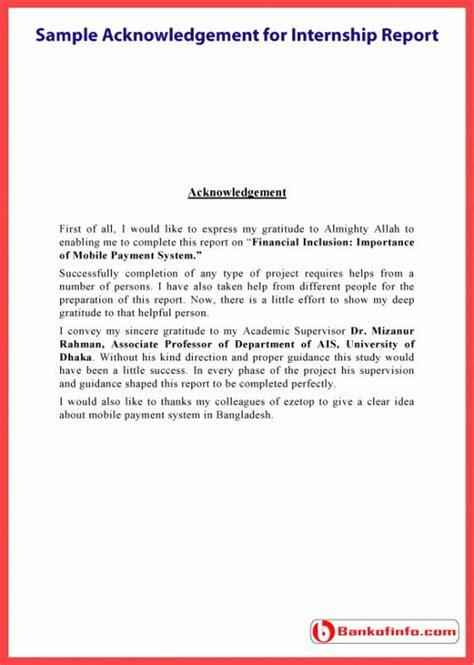 sample acknowledgement  internship report letter