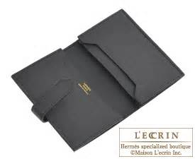 hermes bearn card case black epsom leather gold hardware