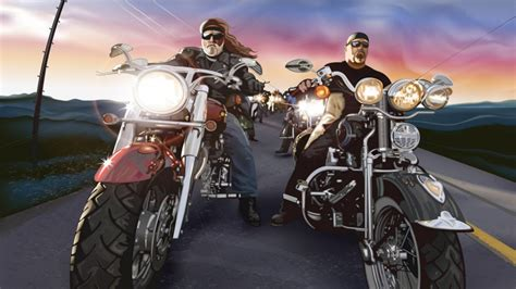 Cartoons Bikes Chopper Beard Motorbikes Bikers Harley