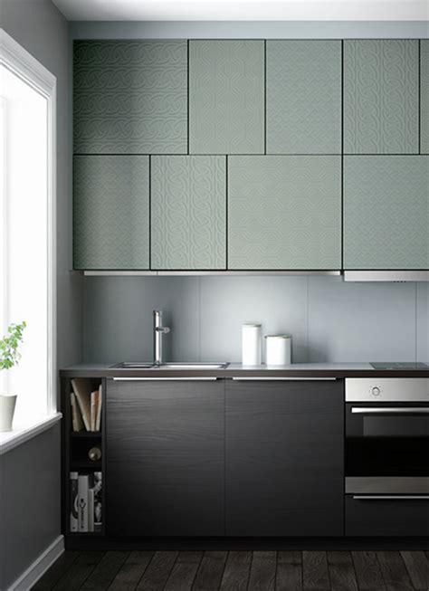 papier de cuisine meubles de cuisine en décalé recouverts de papiers peints