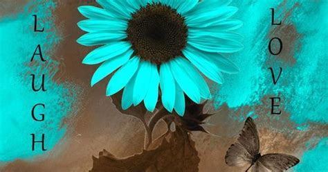Teal Brown Wall Art/Live Laugh Love/Sunflower Butterflies