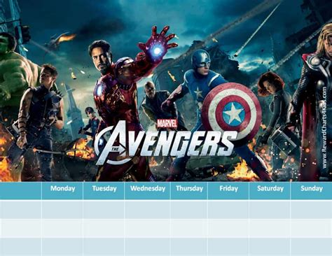 marvel avengers charts customizable printable