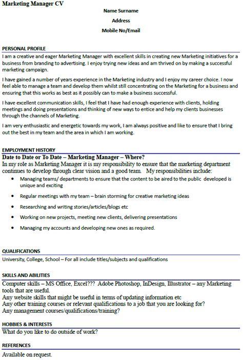 marketing manager cv exle icover org uk