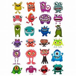 Aufkleber Für Kinder : 24 oder 48 lustige bunte monster sticker aufkleber f r ~ Kayakingforconservation.com Haus und Dekorationen