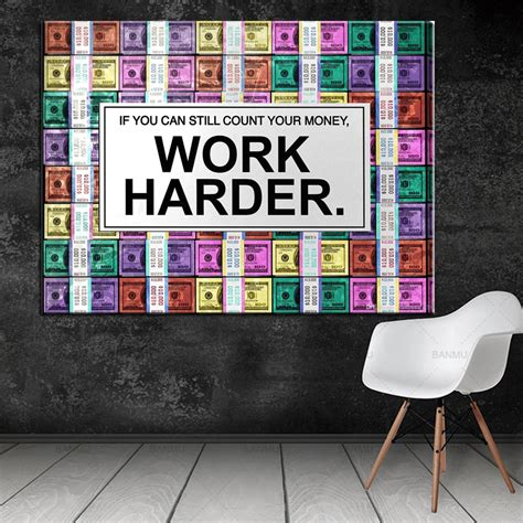 drop shipping canvas pictures poster work hard modern wall