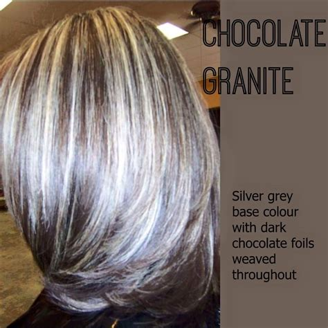chocolate granite hair color chocolate brown silver and