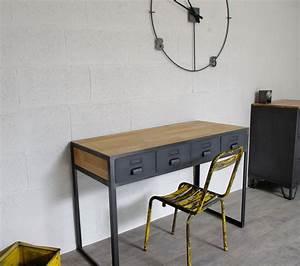 Console Style Industriel : bureau industriel tiroirs en m tal fabrication fran aise ~ Teatrodelosmanantiales.com Idées de Décoration