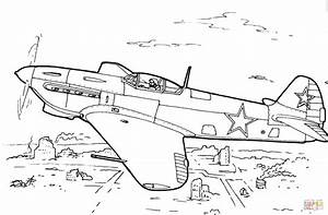 Yakovlev Yak 7 Fighter Aircraft Coloring Page Free