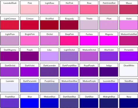 purple colors names best 25 shades of purple chart ideas on